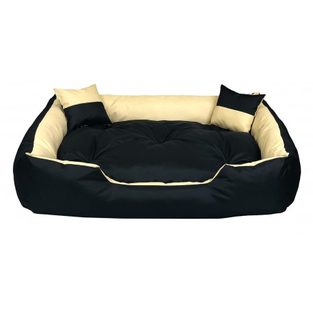 Legowisko dla psa kanapa 80 X 60 + 2 poduszki 4 w 1 beż + szary