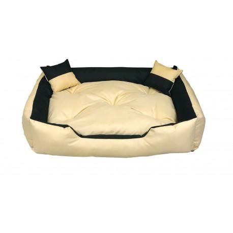 1b81fca27d1a4b Legowisko dla psa kanapa 130 X 105 + 2 poduszki 4 w 1 beż + czarny ...