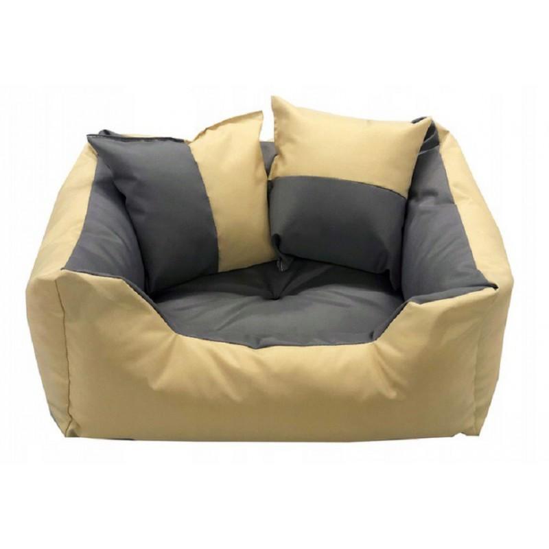 8030d308620b50 ... Legowisko dla psa kanapa 130 X 105 + 2 poduszki 4 w 1 beż + szary ...