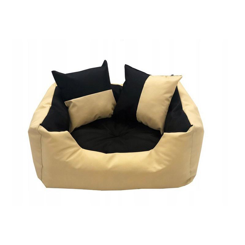 b6a942946b2151 ... Legowisko dla psa kanapa 75 X 65 + 2 poduszki 4 w 1 beż + czarny ...
