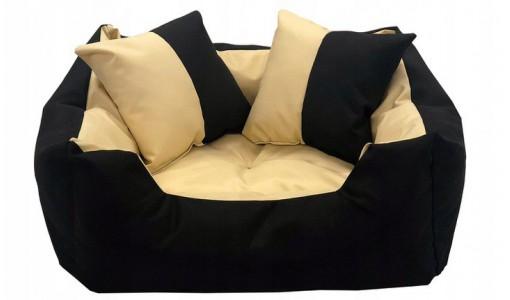 Legowisko dla psa kanapa 55 X 45 + 2 poduszki 4 w 1 beż + czarny
