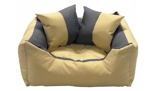 Wodoodporne legowisko kanapa 4w1 45x35cm + 2 poduszki szaro-beżowe
