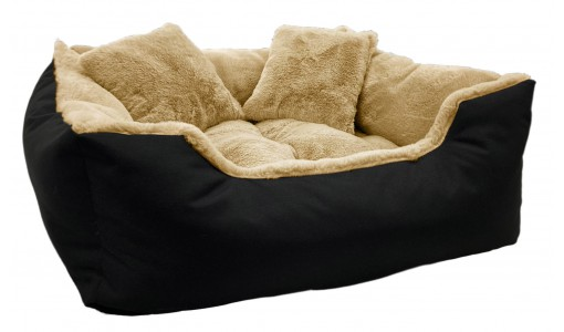 Włochate legowisko kanapa sztuczne futro RABBIT 45x35cm +2 poduszki kolor beżowy