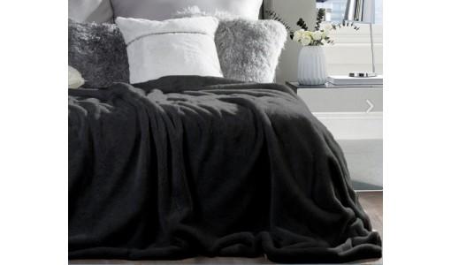 Koc narzuta futerkowa włochacz 160x200cm kolor czarny