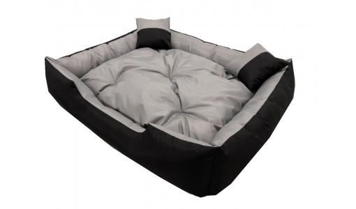 Wodoodporne legowisko kanapa 4w1 100x75cm + 2 poduszki szaro-czarne