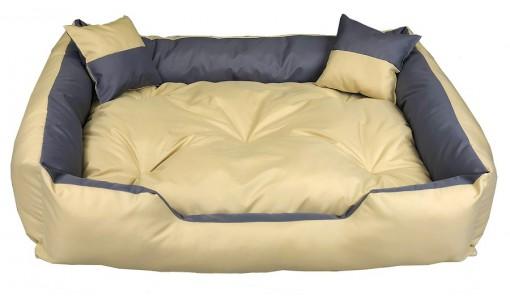Wodoodporne legowisko kanapa 4w1 100x75cm + 2 poduszki szaro-beżowe