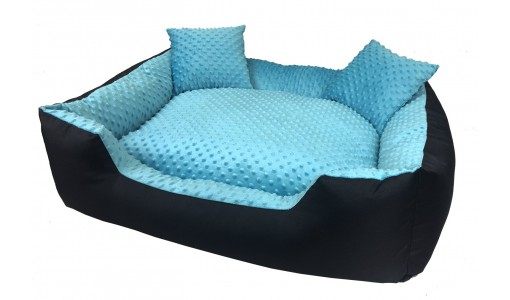 Luksusowe legowisko typu minky 45x35cm +2 poduszki kolor niebieski