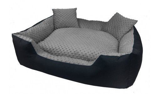 Luksusowe legowisko typu minky 45x35cm +2 poduszki kolor szary