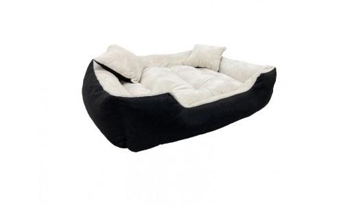 Włochate pluszowe legowisko kanapa 45x35cm +2 poduszki kolor beżowy
