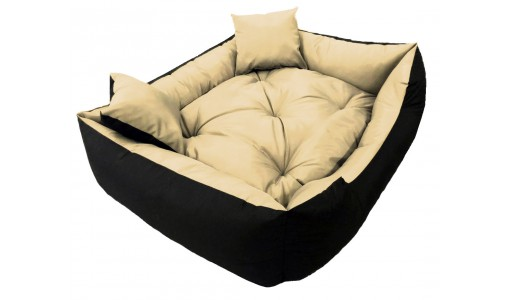 Wodoodporne legowisko typu kojec 45x35cm + 2 poduszki kolor beżowy