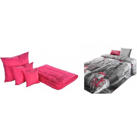 Kołdra wełna 160/200 cm zimowa + 4 poduszki + pościel