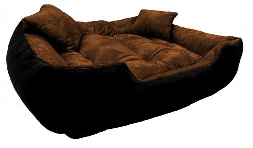 Włochate pluszowe legowisko kanapa 45x35cm +2 poduszki kolor brązowy