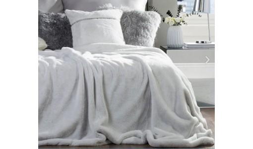 Koc narzuta futerkowa włochacz 160x200cm kolor biały