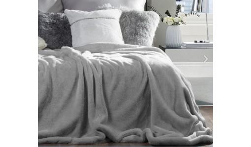 Koc narzuta futerkowa włochacz 160x70cm kolor szary