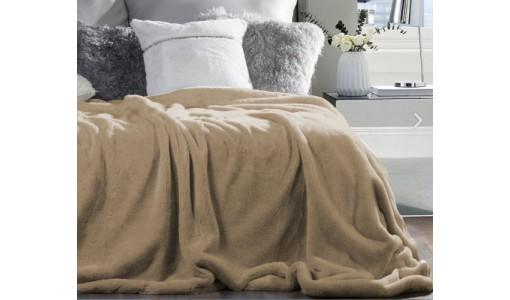Koc narzuta futerkowa włochacz 160x70cm kolor beżowy