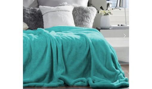 Koc narzuta futerkowa włochacz 160x200cm kolor miętowy