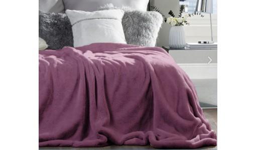 Koc narzuta futerkowa włochacz 160x200cm kolor róż-fuksja