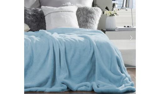 Koc narzuta futerkowa włochacz 160x200cm kolor błękitny