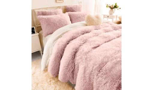 Koc narzuta włochacz shaggy tiffany 160x200cm kolor różowy