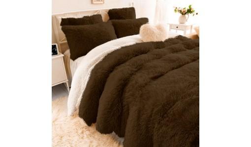 Koc narzuta włochacz shaggy tiffany 160x70cm kolor brązowy