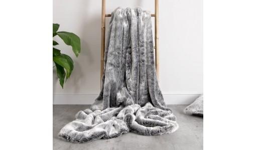 Koc narzuta na łóżko sztuczne futro RABBIT 160x70cm kolor szary