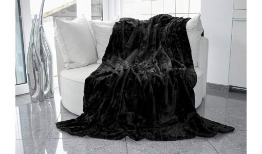 Koc narzuta na łóżko sztuczne futro RABBIT 160x70cm kolor czarny