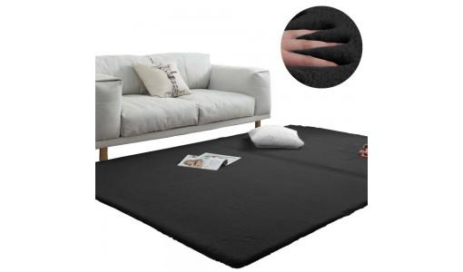 Pluszowy gęsty dywan RABBIT 80x160cm kolor czarny